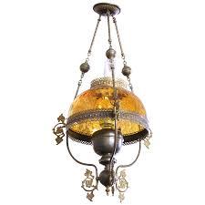 viyet designer furniture lighting antique amber and brass hanging oil lamp