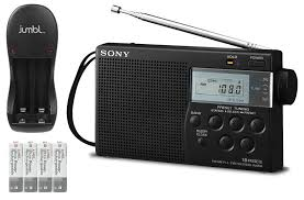 sony compact portable radio with am fm digital tuning built in speaker headphone jack sleep timer 15 presets charger rechargeable batteries