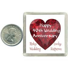 lucky sixpence coin ruby 40th wedding anniversary gift great present idea