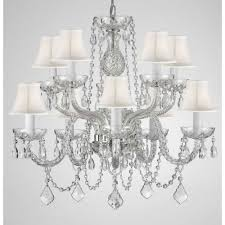 10 light empress crystal chandelier with white shades