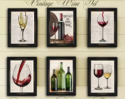 red white wine dictionary art print six set home bar wall decor time for a glass of wine on vintage book paper buy 4 prints get 2 free  on wine bar wall art with wine dictionary art print kick off your heels pour yourself