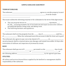Apartment Sublease Template Apartment Sublease Agreement Template Residential Free
