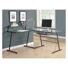 monarch black metal l shaped computer desk with tempered glass desks at hayneedle black metal computer desk