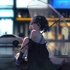 Desktop wallpaper enjoying rain, anime ...