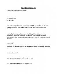 a brief guide to writing a successful cv with how to write for highschool  or college