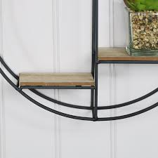 black wood metal round wall shelf