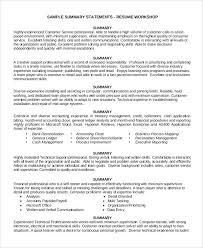 resume summary for customer service customer service resume summary  statement resume summary for customer service representative