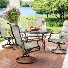 hampton bay statesville 5 piece padded sling patio dining set with 53 in glass