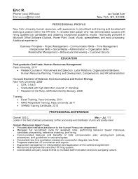 Sample Hr Resume For Experienced