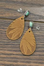 jchronicles natural turquoise tooled leather earrings front cropped image