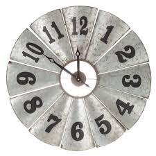 galvanized windmill metal wall clock