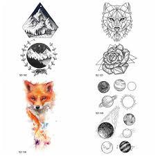 Women Small Planet Temporary Tattoo Sticker Arm Fake Tatoos Diamond Timber Tip Waterproof Tattoo Men Geometric Wolf Flora