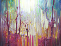 white deer realm large colourful abstract forest painting 36x48x1 5 in