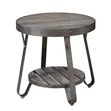 modern driftwood rustic gray wood and metal 24 inch round accent end side table includes modhaus living pen