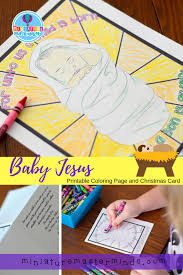 Jesus died on a cross coloring pages, baby jesus coloring pages, baby jesus in the manger coloring pages, mary joseph and baby jesus coloring pages, key to salvation coloring. Baby Jesus Printable Coloring Page And Christmas Greeting Card Miniature Masterminds