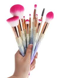 glitter rainbow makeup brushes set colormix