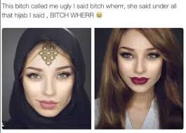 probably under all that 3 inch thick layer of haram make up inspiring