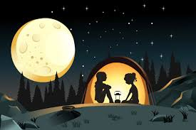 camping in the woods at night. Two Girls Camping In The Woods At Night