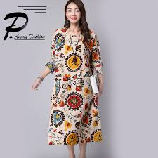 Plus Size Dress Patterns Inspiration Lagenlook Plus Size LinenCotton Floral Pattern Long Dress Women's