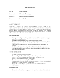 project manager job description resume formt cover letter examples sample job description project manager senior project manager job