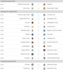 Comprehensive coverage of all your major sporting events on supersport.com, including live video streaming, video highlights, results, fixtures, logs, news, tv broadcast schedules and more. Fa Cup 4th Round Fixtures 26th 28th January 2018 Redcafe Net