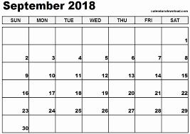 September 2018 Printable Calendar Printable Weekly Calendar ...