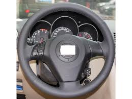 hand sewing black genuine leather steering wheel cover for 2004 2009 mazda mazda3 2003