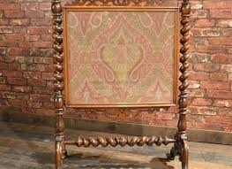victoria beveled glass fireplace screen antique fire mahogany needlepoint textile s