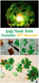diy leafy plastic bottle chandelier instructions diy plastic bottle garden projects