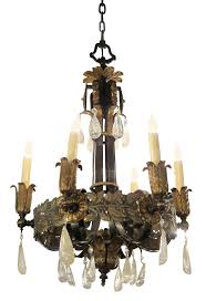 1920s iron and bronze art nouveau chandelier with rock crystal with six light this can