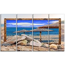 designart mt9471 271 beach shore horizontal metal wall art blue 48x28 on horizontal wall art amazon with amazon designart mt9471 271 beach shore horizontal metal wall