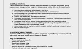 Sample Bank Teller Resume Cover Letter Teller Job Description Of On