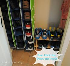 rustic maple organizing our front hall closet we also reused the wood shoe rack for taller shoes and work boots extends further into on right barn