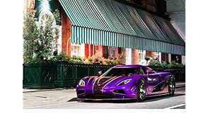 amazon koenigsegg agera r zijin 2018 car print on 10 mil archival satin paper purple front side static view 18 x24 posters prints