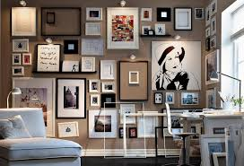 cool home office ideas mixed. Interesting Wall Frame Ideas To Decorate Your Homes Decorations Mixed Frames On With Black And White Fraame Also Grey Paint Cool Home Office