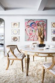pretty pops of color see more images from natane boudreau a cozy and chic designer nyc apartment find this pin and more on interior ii dining room