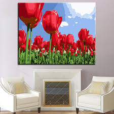 >2018 red tulip flower diy painting by numbers kits hand paint oil  2018 red tulip flower diy painting by numbers kits hand paint oil pictures wall art digit drawing coloring home decor for living room from framedpainting
