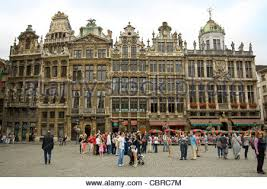 wide angle view busy design office. horizontal wide angle view of a terrace old gabled guildhalls surrounding the grand place in busy design office