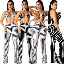 Sexy bodysuit tracksuit <b>rompers womens jumpsuit striped print</b> slim ...
