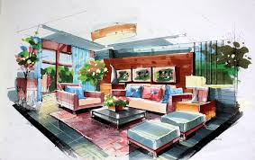 Brilliant Interior Designer Drawings Green Living Room Interior
