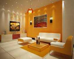 Orange And Yellow Living Room Interior Gorgeous Yellow Mixed White Wall Paint Best Living Room