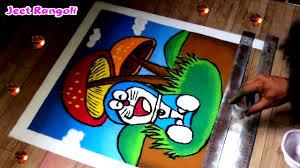 Easy Cartoon Rangoli Designs Cartoon Poster Rangoli Doremon Rangoli Easy Cartoon Rangoli