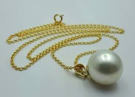 14 ct yellow gold chain natural south sea pearl pendant total 4 48g