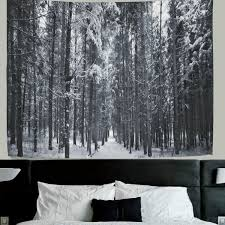 welllee forest tree snow nature forest landscape fabric tapestry throw dorm bedroom art home decor tapestry
