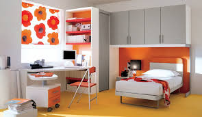 boys bedroom design. Elegant Boy Bedroom Ideas With Grey Cabinet Over Bed And Orange Accent Wall Also Built In Bookcase Boys Design