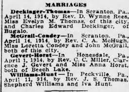 Shepherd Williams married Iva Hunt in Peckville, Pa. on April 11, 1914 -  Newspapers.com