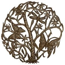 butterfly and dragonfly tree of life wall hanging on metal art tree of life wall hanging with wholesale home decor metal art from global crafts