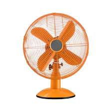 bright orange oscillating metal desk fan