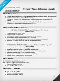 Resume Examples For Security Guard Tomyumtumweb Com