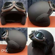 new blackhawk modern clic helmet with matte black brown leather retro goggles smooth bnew perfect for old motorcycles and scooters cafe racer